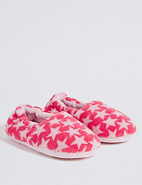 Kids' Star Print Slippers (5 Small - 12 Small), PINK MIX, catlanding