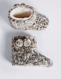 Kids' Animal Print Slipper Boots