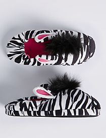Kids' Zebra Print Slippers