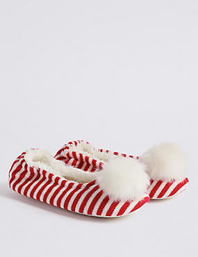 Kids' Knitted Pom-pom Slipper