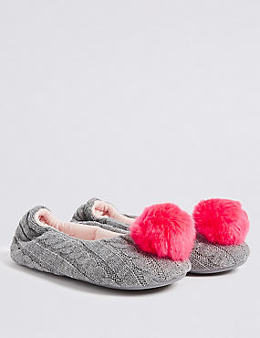 Kids' Pom-pom Slippers, GREY MIX, catlanding
