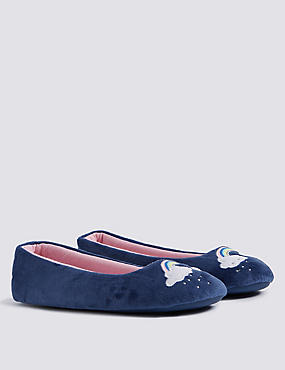 Kids' Rainbow Slippers, NAVY MIX, catlanding
