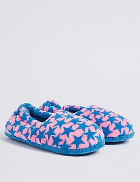Kids' Star Print Slippers, CORAL MIX, catlanding