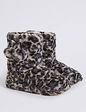 Kids' Faux Fur Boot Slippers (13 Small - 6 Large), MULTI, catlanding