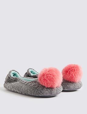 Kids' Pom-pom Slippers (13 Small - 6 Large), MULTI, catlanding