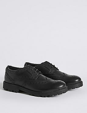 Kids' Brogue School Shoes with Freshfeet™ (13 Small - 8 Large), BLACK, catlanding