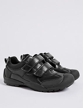 Kids' Leather School Shoes (13 Small - 9 Large), BLACK, catlanding