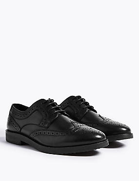 Kids' Leather Brogue School Shoes, BLACK, catlanding