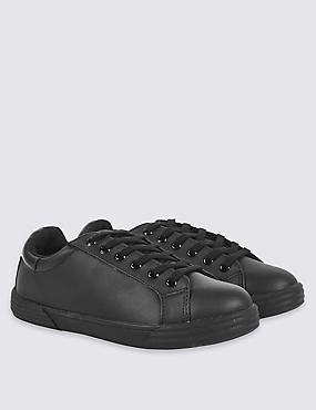 Kids' Lace-up Trainers with Freshfeet™ (13 Small - 8 Large), BLACK, catlanding