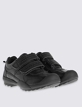 Kids' Scuff Resistant Coated Leather Trainers with Freshfeet™ Technology