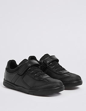 Kids' Leather School Trainers (8 Small - 1 Large), BLACK, catlanding