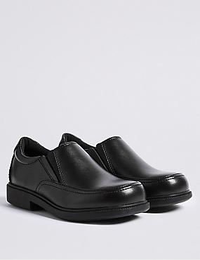 Kids' Leather School Shoes (8 Small - 1 Large), BLACK, catlanding