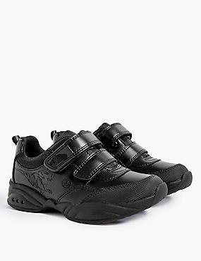 Kids' Leather Flashing Lights School Shoes (8 Small - 1 Large), BLACK, catlanding