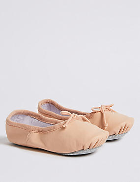 Kids' Leather Dance Ballet Shoes (5 Small - 4 Large), NUDE, catlanding