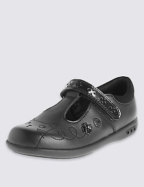 Kids' Scuff Resistant Coated Leather School Shoes with Flashing Lights & Freshfeet™ Technology