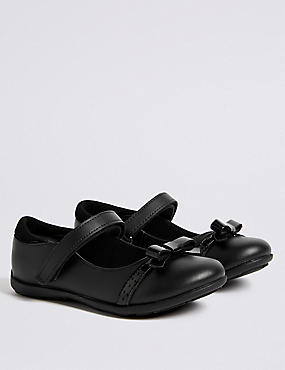 Kids' Bow Ballet Pumps with Freshfeet™, BLACK, catlanding