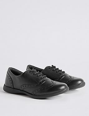 Kids' Leather Brogue School Shoes (8 Small - 1 Large), BLACK, catlanding