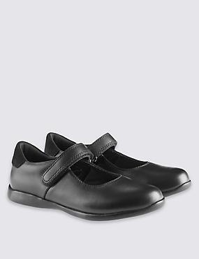 Kids' Leather Cross Bar School Shoes (8 Small - 1 Large), BLACK, catlanding