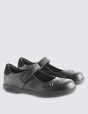 Kids' Leather School Shoes with Lights, BLACK, catlanding