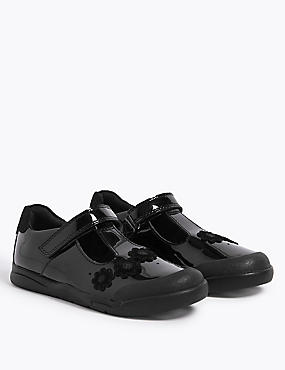 Kids' Leather T-Bar School Shoes (8 Small - 1 Large)+, BLACK, catlanding