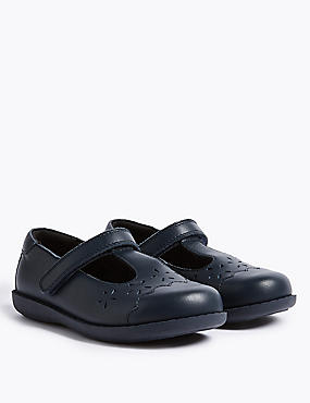 Kids' Leather School Shoes, NAVY, catlanding