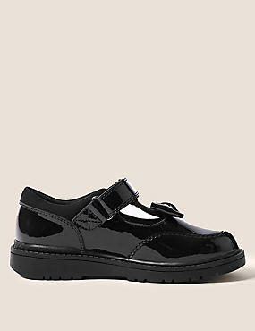Kids' Leather T-Bar School Shoes (8 Small - 1 Large), BLACK, catlanding