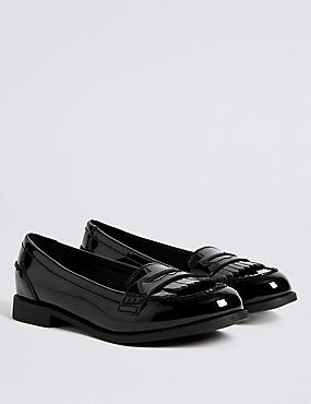 Kids' Leather Loafers with Freshfeet™, BLACK, catlanding