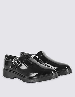 Kids' T-Bar School Shoes with Freshfeet™ (13 Small - 7 Large), BLACK, catlanding