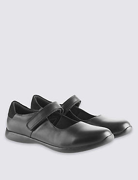 Kids' Leather Riptape Cross Bar School Shoes