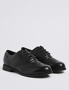 Kids' Leather Brogue School Shoes (13 Small - 7 Large), BLACK, catlanding