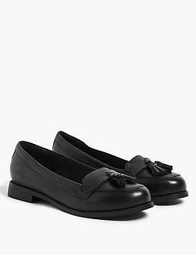 Kids' Leather Loafers (13 Small - 7 Large), BLACK, catlanding