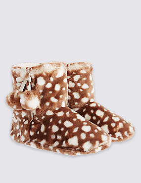 Kids' Animal Print Slippers