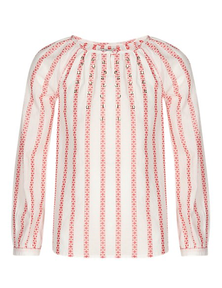 Pure Cotton Dobby Striped Blouse (5-14 Years)