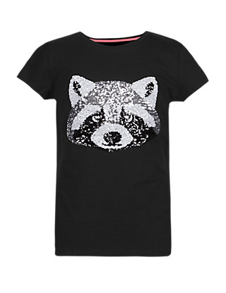 Pure Cotton Sequin Embellished Raccoon T-Shirt with StayNEW™ (5-14 Years) Clothing