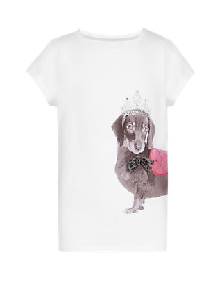 Pure Cotton Sausage Dog Print Girls T-Shirt (5-14 Years) Clothing