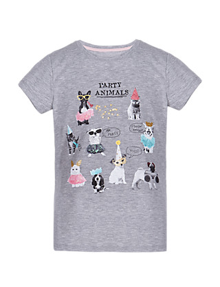 Party Animal Girls T-Shirt (5-14 Years) Clothing