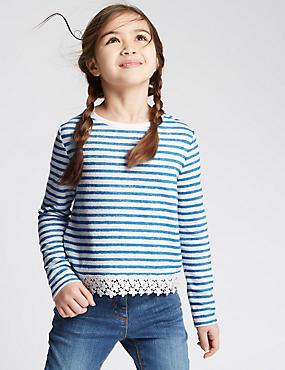 Pure Cotton Striped Sweatshirt (3-14 Years)