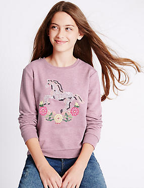 Horse Embroidered Long Sleeve Sweatshirt (5-14 Years)