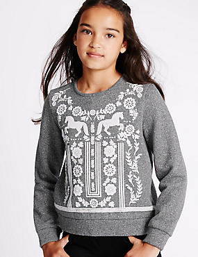 Cotton Rich Puff Print Sweatshirt (5-14 Years)