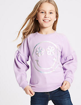 Smile Face Print Sweatshirt (3-16 Years)