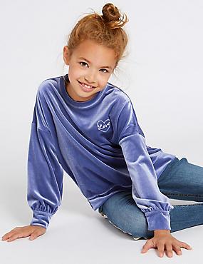 Velvet Sweatshirt (3-16 Years), ULTRAVIOLET, catlanding