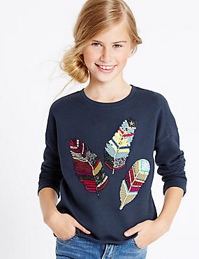 Embellished Feather Sweatshirt (3-14 Years)