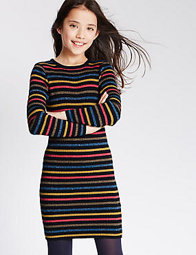 Cotton Rich Long Sleeve Striped Dress (5-14 Years)