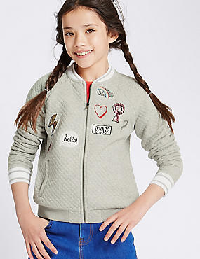 Cotton Blend Front Zip Bomber (5-14 Years)