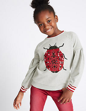 Sequin Ladybird Sweatshirt (3-14 Years)