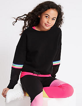 Mesh Panel Print Sweatshirt (3-16 Years)