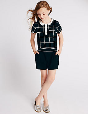 Grid Checked Playsuit (5-14 Years)