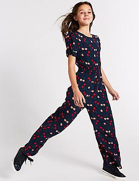 Cherry Print Jumpsuit (3-16 Years), NAVY MIX, catlanding