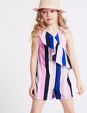 Striped Pure Cotton Playsuit (3-16 Years), MULTI, catlanding