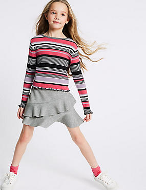 2 Piece Striped T-Shirt & Skirt Outfit (3-16 Years)